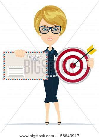 a woman with target and letter . Stock vector illustration