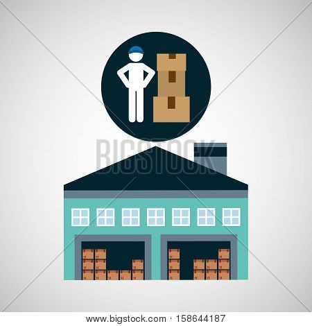 warehouse building man worker package vector illustration eps 10