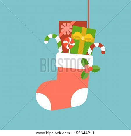 Christmas Sock with present boxes and candy cane, mistletoe, flat design with long shadow