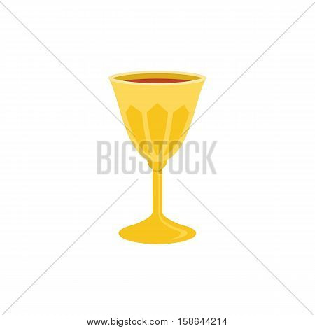 holy grail icon, chalice with red wine illustration, flat design