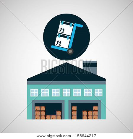 warehouse building trolley boxes delivery vector illustration eps 10