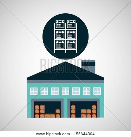 warehouse building boxes racks vector illustration eps 10