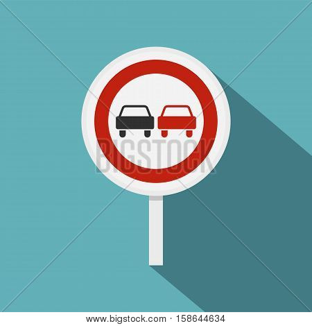 No overtaking road traffic sign icon. Flat illustration of no overtaking road traffic sign vector icon for web isolated on baby blue background