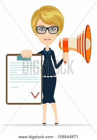 Business woman holding contract and megaphone. Stock vector illustration