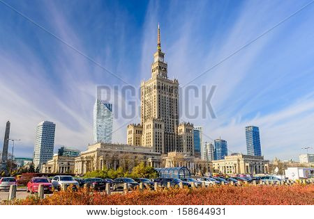Warsaw, Poland - November 4, 2016: Palace of Culture and Science and downtown business skyscrapers, city center.