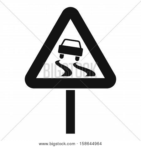 Slippery when wet road sign icon. Simple illustration of slippery when wet road sign vector icon for web