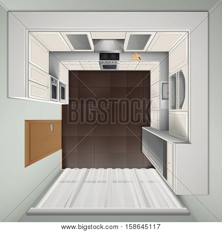 Modern luxury kitchen with white cabinets built-in cooker and refrigerator top view realistic image vector illustration