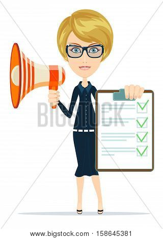 Business woman holding agreement and megaphone. Stock vector illustration