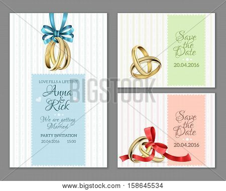 Celebrate invitation wedding cards with gold rings blue and red ribbon bows on striped background vector illustration