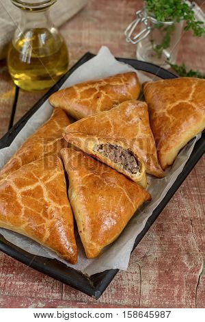 Meat pies samosas with ground beef and spices