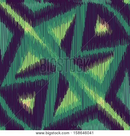 Green and black seamless Ikat Pattern. Abstract background for textile design wallpaper surface textures wrapping paper.