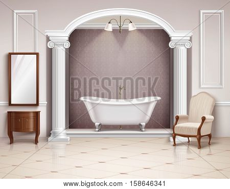 Beautiful luxurious bathroom interior with victorian columns furniture and white clawfoot bathtub realistic design vector illustration