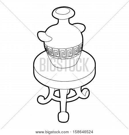Round coffee table with an antique vase icon. Isometric 3d illustration of round coffee table with an antique vase vector icon for web