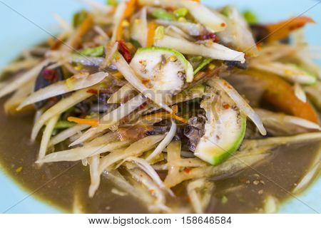 Thai food, papaya salad(Som tum) close up