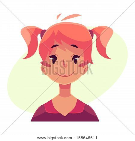 Teen girl face, neutral facial expression, cartoon vector illustrations isolated on yellow background. Red-haired girl emoji face feeling glad, serene, relaxed, delighted. Neutral face expression