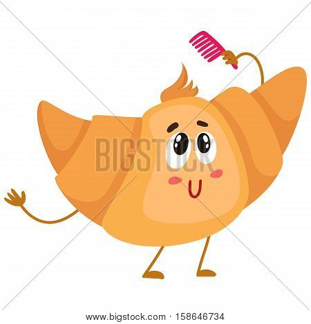 Cute and funny croissant character combing its hair, cartoon vector illustration isolated on white background. Funny smiling croissant character with face, arms and legs holding a comb