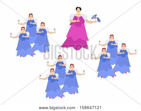 The opera singer on the stage. Diva. Cute cartoon vector illustration on white background.
