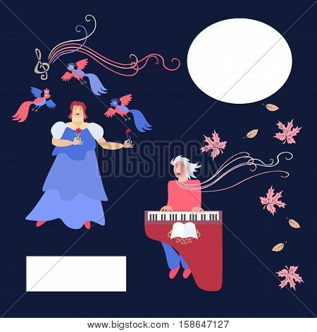 Duet. The singer and accompanist. Space for text. Cute cartoon vector illustration.