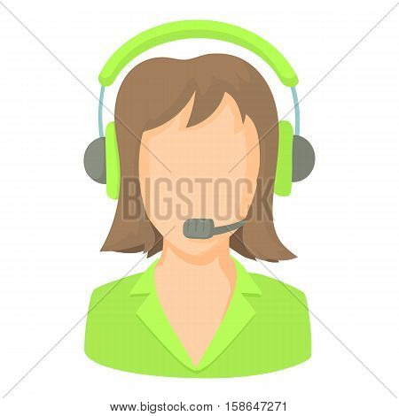 Call center operator with phone headset icon. Cartoon illustration of call center operator with phone headset vector icon for web