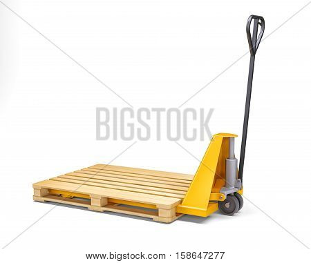 Yellow pallet jack. Isolated on white. 3D rendering