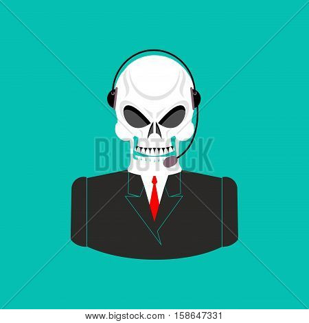 Death Call Center. Skull With Headset. Skeleton Feedback Operator With Clients. Afterlife Customer S