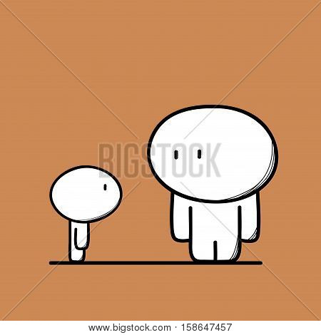 Cute man and a kid on the brown background. Family, orphan child and charity - cartoon vector illustration.