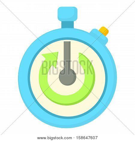 Stopwatch with green arrow icon. Cartoon illustration of stopwatch with green arrow vector icon for web