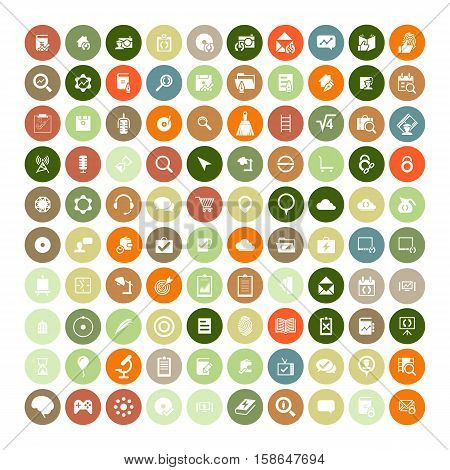 Set of 100 Universal Icons. Simple Flat Style. Business, internet, web design, random pictogram.