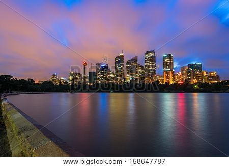 Sydney City at night.NOV 28,2016  the Sydney central business district and surrounding inner city suburbs of the greater metropolitan area of Sydney, New South Wales, Australia.