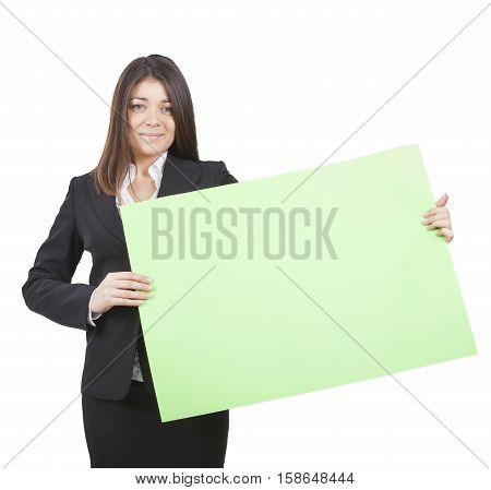 Businesswoman Keeping Signboard