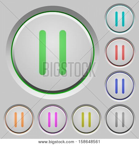 Media pause color icons on sunk push buttons