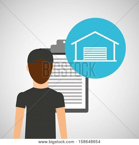man delivery checking warehouse design vector illustration eps 10