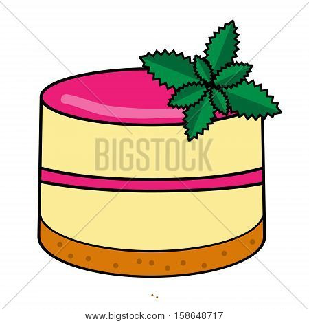 Sweet bakery. Cake vanilla pudding with colorful glaze and mint leaves vector illustration. Isolated Design element in hand drawn style for bakery menu cafe shops