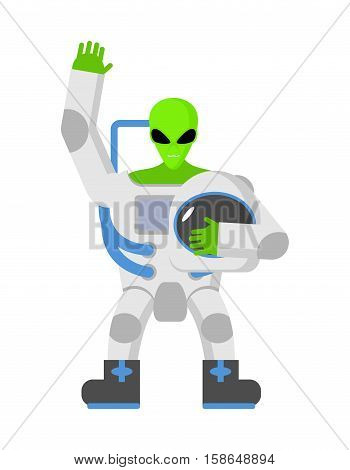 Alien In Space Suit. Ufo Replaced Astronaut. Space Invader