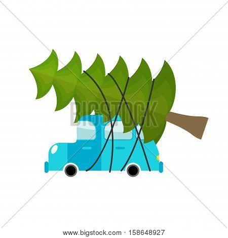 Car And Fir-tree. Machine Driven By Green Tree In New Year. Green Large Spruce