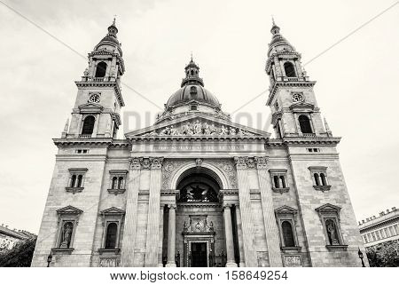 Saint Stephen's basilica is a roman catholic basilica in Budapest Hungary. Black and white photo. Cultural heritage. Religious architecture. Famous place. Travel destination.
