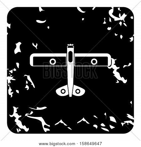 Army biplane icon. Grunge illustration of plane vector icon for web design