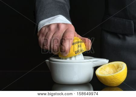 Concept for Business as usual with Lemon and a Man