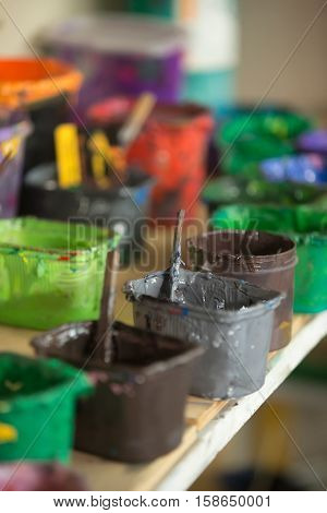Close-up Of Traditional Silk Screen Printing Ink