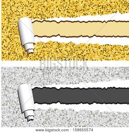 Gold and silver glittering horizontal banners with torn rolled paper stripe. Ripped festive holidays vector frames with place for your text and design