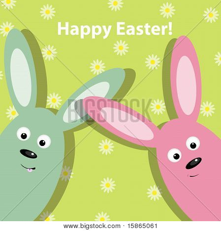 Vector Easter greeting card with 2 funny rabbits poster