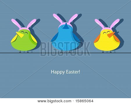 Vector Easter greeting card with bird in rabbit ear hats poster