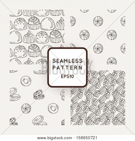Set of Vector Candy, Bows and Muffins Seamless Patterns. Sweet Party Texture. Buns, sweet icing and jelly beans.