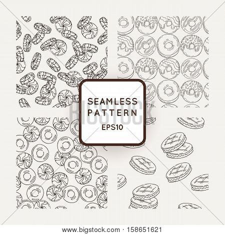 Set of Vector Candy, Bows and Muffins Seamless Patterns. Sweet Party Texture. Cooky, sweet icing and jelly beans.