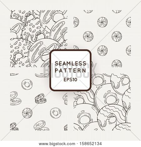 Set of Vector Candy, Bows and Muffins Seamless Patterns. Sweet Party Texture. Buns, donuts, sweet icing and jelly beans.