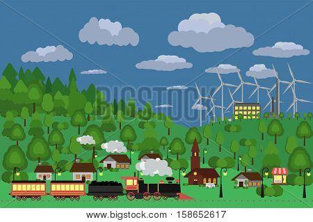 Rural Landscape. Vector Illustration.