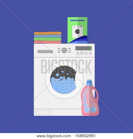 Flat Design Vector Illustration Of Modern Washing Machine With Linen.  Clothes