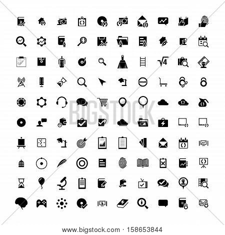 Set of 100 Universal Icons. Simple Flat Style. Business, internet, web design, random pictogram.