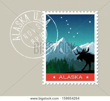 Alaska postage stamp design. Detailed vector illustration of scenic mountain landscape with grunge postmark on separate layer