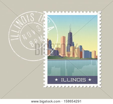 Illinois postage stamp design. Vector illustration of Chicago skyline with grunge postmark on separate layer